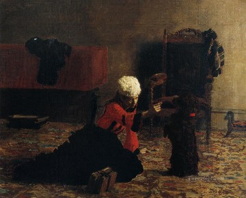 portrait portraits Painting - Elizabeth Crowell with a Dog Realism portraits Thomas Eakins