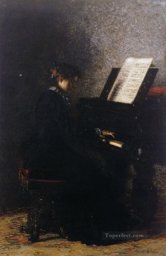 Elizabeth at the Piano Realism portraits Thomas Eakins Oil Paintings