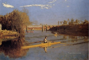 AX Painting - Max Schmitt in a Single Scull Realism landscape Thomas Eakins