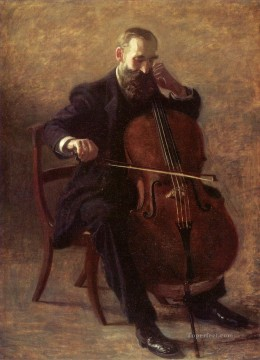 portraits Art Painting - The Cello Player Realism portraits Thomas Eakins
