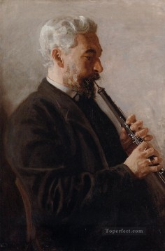 portrait portraits Painting - The Oboe Player aka Portrait of Benjamin Realism portraits Thomas Eakins
