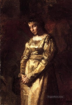 young Art - Young Girl Meditating study Realism portraits Thomas Eakins