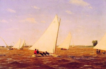 horse racing races sport Painting - Sailboats Racing on the Deleware Realism seascape Thomas Eakins