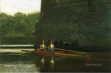 realism painting - The Oarsmen aka The Schreiber Brothers Realism boat Thomas Eakins