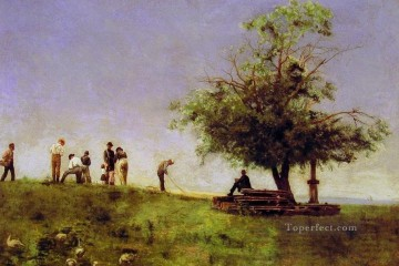 Thomas Eakins Painting - Mending the net Realism landscape Thomas Eakins