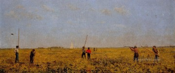 realism realist Painting - Pushing for Rail Realism landscape Thomas Eakins