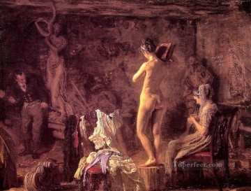 realism painting - William Rush Carving His Allegorical Figure of the Schuylkill River Realism Thomas Eakins