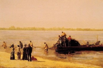 realism painting - Shad Fishing at Gloucester on the Deleware River Realism Thomas Eakins