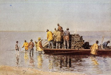 Taking up the Net Realism Thomas Eakins Oil Paintings