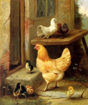 Edgar Hunt Painting - A Hen Chicks And Pigeons poultry livestock barn Edgar Hunt