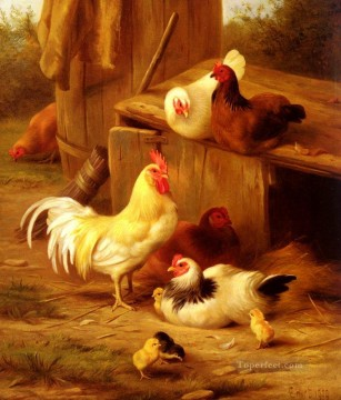 chicken Painting - Chickens And Chicks poultry livestock barn Edgar Hunt
