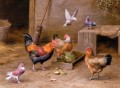 Chickens In A Farmyard poultry livestock barn Edgar Hunt