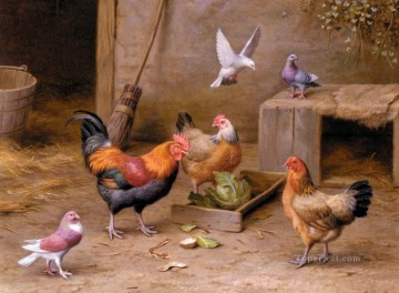 chicken Painting - Chickens In A Farmyard poultry livestock barn Edgar Hunt