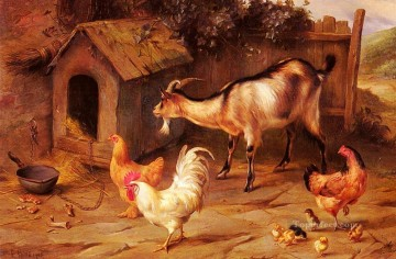 Edgar Hunt Painting - Fowl Chicks And Goats By A Dog Kennel poultry livestock barn Edgar Hunt