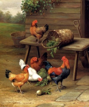 Edgar Hunt Painting - Poultry In A Barnyard poultry livestock barn Edgar Hunt