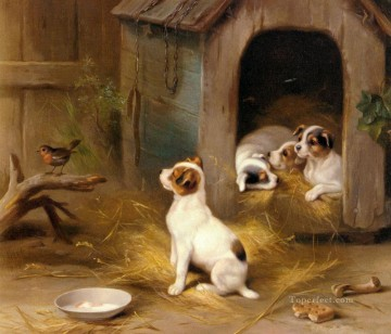 Edgar Hunt Painting - The Puppies poultry livestock barn Edgar Hunt