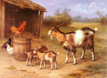 chicken Painting - A farmyard Scene With Goats And Chickens poultry livestock barn Edgar Hunt