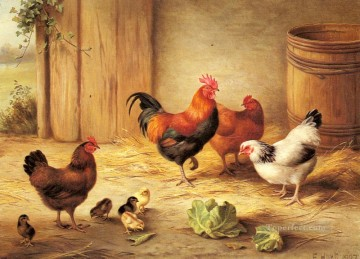 chicken Painting - Chickens In A Barnyard poultry livestock barn Edgar Hunt