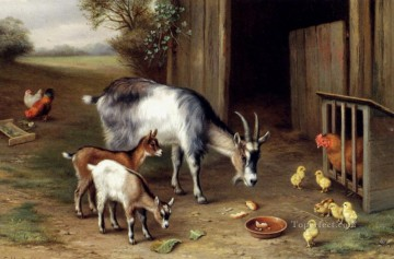 Edgar Hunt Painting - Goats And Poultry poultry livestock barn Edgar Hunt