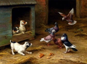 Edgar Hunt Painting - Puppies And Pigeons Playing By A Kennel poultry livestock barn Edgar Hunt