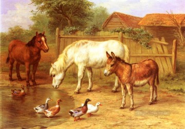 Edgar Hunt Painting - Ponies Donky and Ducks In A Farmyard poultry livestock barn Edgar Hunt