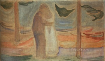couple Art - couple on the shore from the reinhardt frieze 1907 Edvard Munch