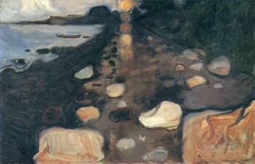 moon Painting - moonlight on the shore 1892 Edvard Munch