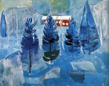 Edvard Munch Painting - red house and spruces 1927 Edvard Munch