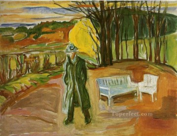 Edvard Munch Painting - self portrait in the garden ekely 1942 Edvard Munch