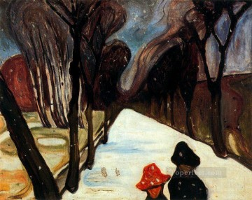 Edvard Munch Painting - snow falling in the lane 1906 Edvard Munch