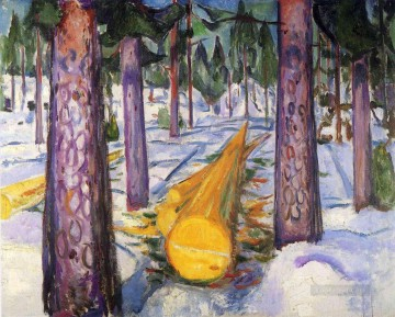 the yellow log 1912 Edvard Munch Oil Paintings