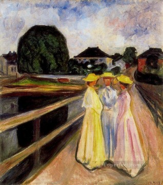 Edvard Munch Painting - three girls on the jetty 1903 Edvard Munch