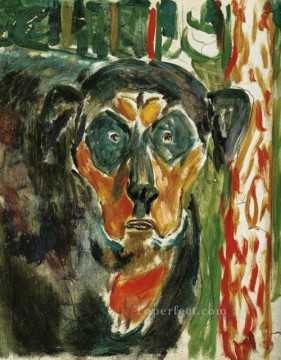 head of a dog 1930 Edvard Munch Oil Paintings