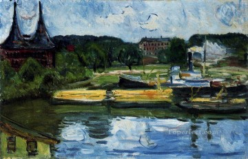 Edvard Munch Painting - lubeck harbour with the holstentor 1907 Edvard Munch