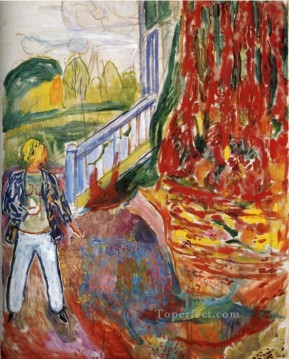 model in front of the verandah 1942 Edvard Munch Oil Paintings