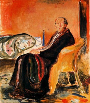Edvard Munch Painting - self portrait after spanish influenza 1919 Edvard Munch
