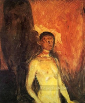 portrait Painting - self portrait in hell 1903 Edvard Munch