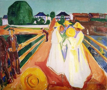 Edvard Munch Painting - women on the bridge Edvard Munch