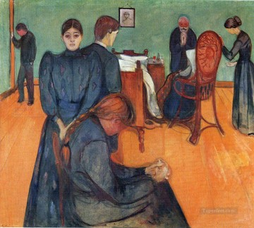 Edvard Munch Painting - death in the sickroom 1893 Edvard Munch