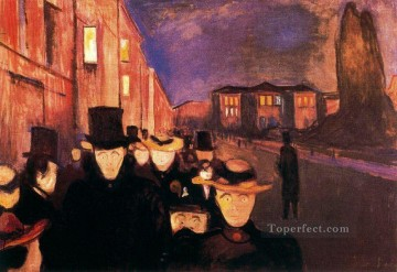 evening on karl johan street 1892 Edvard Munch Oil Paintings