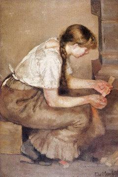 1883 Works - girl kindling a stove 1883 Edvard Munch