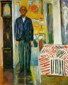 self portrait between the clock and the bed 1943 Edvard Munch