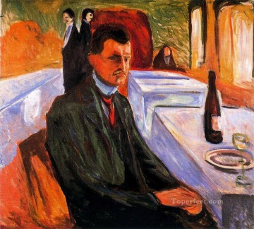 wine pub pubs folies bars nighthawks Painting - self portrait with bottle of wine 1906 Edvard Munch