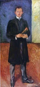 self portrait with brushes 1904 Edvard Munch Oil Paintings