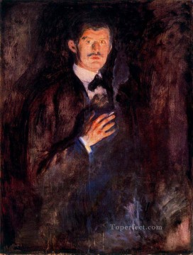 Edvard Munch Painting - self portrait with burning cigarette 1895 Edvard Munch