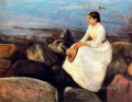 summer night inger on the shore 1889 Edvard Munch