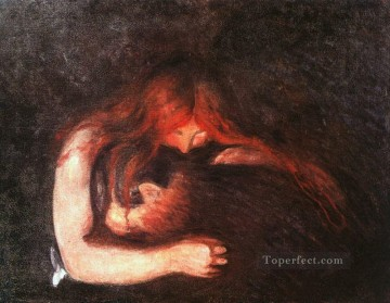 1895 Oil Painting - vampire 1895 Edvard Munch