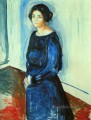 woman in blue frau barth 1921 Edvard Munch