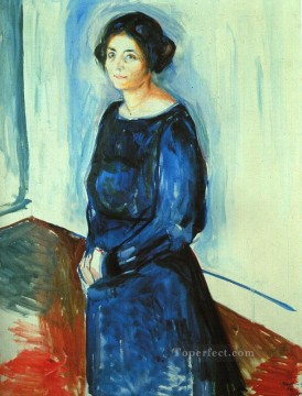 Edvard Munch Painting - woman in blue frau barth 1921 Edvard Munch