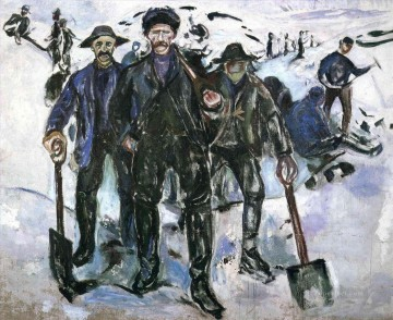 Edvard Munch Painting - workers in the snow 1913 Edvard Munch